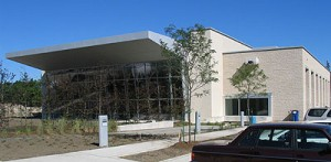 The entire south façade of the worship space at St. Gabriel's is glazed with clear glass.